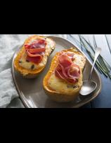 Butternut rôtie au fromage de brebis et au jambon de la vallée des Aldudes.