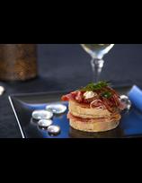 Mille-feuille au foie-gras et jambon de la Vallée des Aldudes