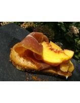 Recette de tartine de jambon et mangue ou pêche