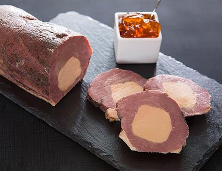Magret de canard fourré au bloc de foie gras