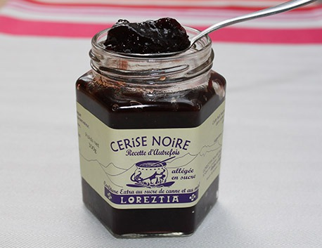 Black cherry marmelade with cane sugar and honey 300g (jar)