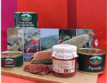 Coffret pays basque Ekhi avec chorizo, piperade, chichons, axoa, pimientos