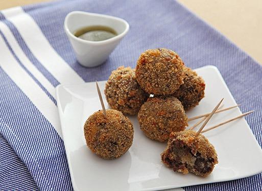 Croquettes de boudin basque à la sauce Pika Berdea