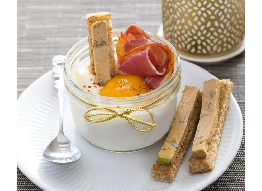 Œufs cocottes au jambon du Kintoa AOP et au foie gras
