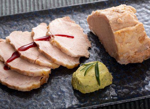 Confit de Porc Basque et délice de courgettes à la coriandre