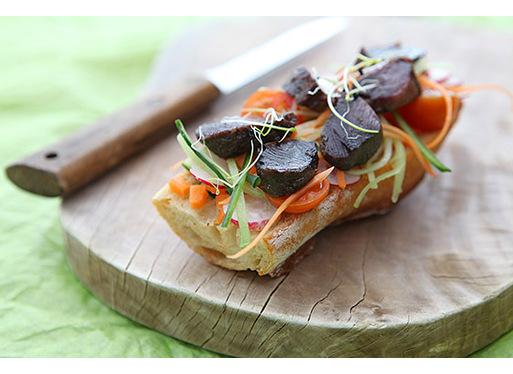 Tartines de gésiers avec petits légumes
