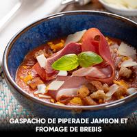 recette gaspacho de piperade jambon et fromage de brebis